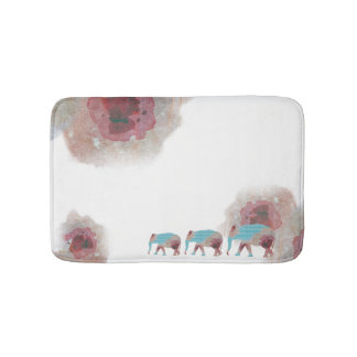 Chic Watercolor Floral And Elephant Bath Mat