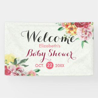 Chic Watercolor Floral Baby Shower Welcome Banner