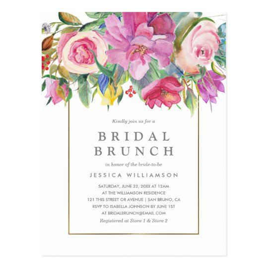 Chic Watercolor Floral Bridal Brunch Postcard