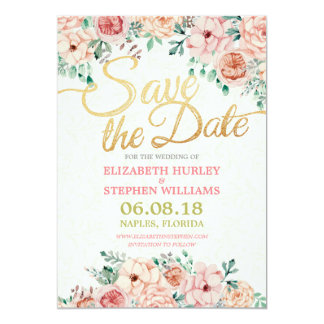 Chic Watercolor Floral & Gold Script Save The Date 13 Cm X 18 Cm Invitation Card