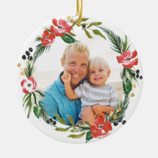Chic Watercolor Floral Holiday Ornament