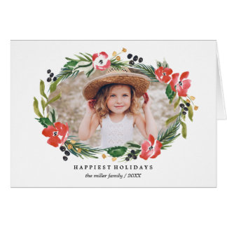 Chic Watercolor Floral Holiday Photo Card