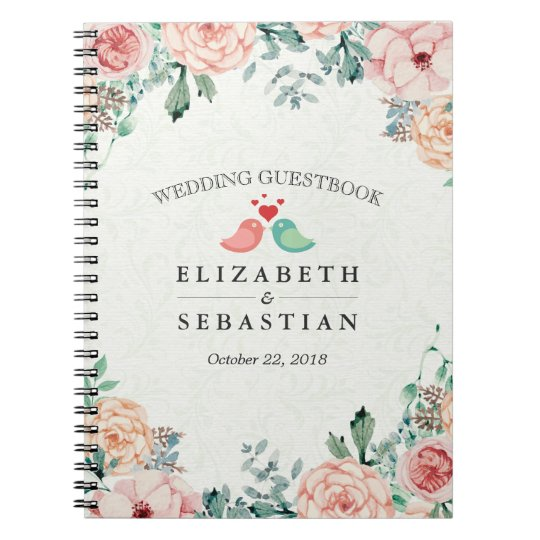 Chic Watercolor Floral Love Birds Couple Guestbook Notebook