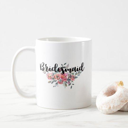 Chic Watercolor Floral Wedding Bridesmaid Coffee Mug