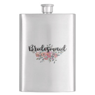 Chic Watercolor Floral Wedding Bridesmaid Hip Flask