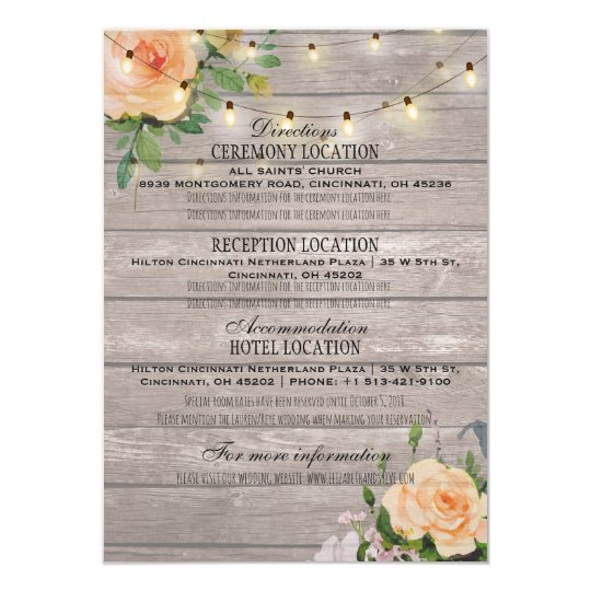 Chic Watercolor Floral Wedding Details Information Card