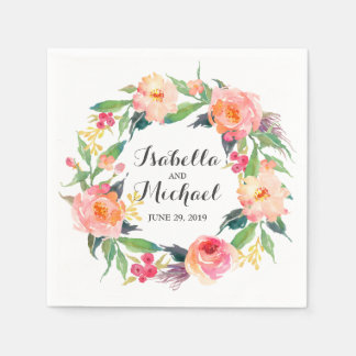 Chic Watercolor Floral Wedding Disposable Serviettes