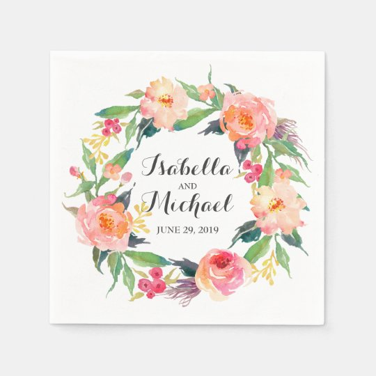 Chic Watercolor Floral Wedding Disposable Serviettes