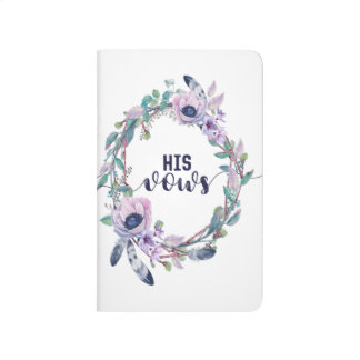 Chic Watercolor Floral Wedding His Vows Journal