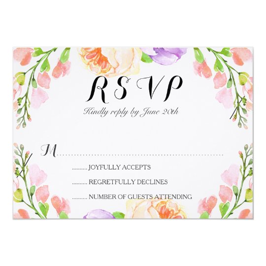 "Chic Watercolor Floral Wedding ""RSVP"" Card"