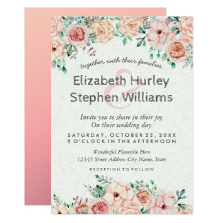 Chic Watercolor Floral Wedding Shower Invitation