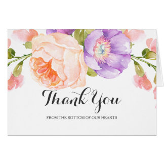 Chic Watercolor Floral Wedding Thank You Card