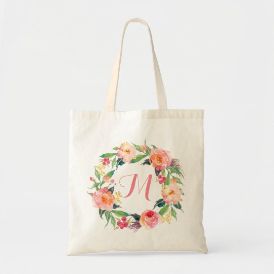 Chic Watercolor Floral Wreath Monogram Tote Bag
