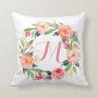 Chic Watercolor Floral Wreath Monogrammed Cushion