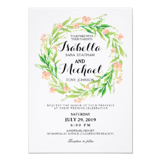 Chic Watercolor Floral Wreath Wedding Invitation3 Card