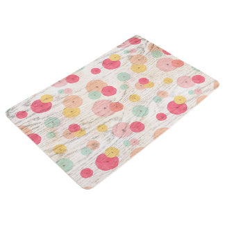 Chic Watercolor Flowers Coral Blush Mint on Wood Floor Mat