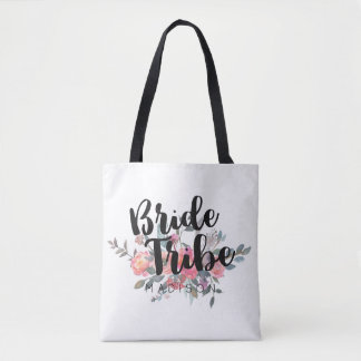 Chic Watercolor Peony Floral Bride Tribe Tote Bag
