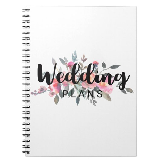 Chic Watercolor Peony Floral Wedding Planner Notebook
