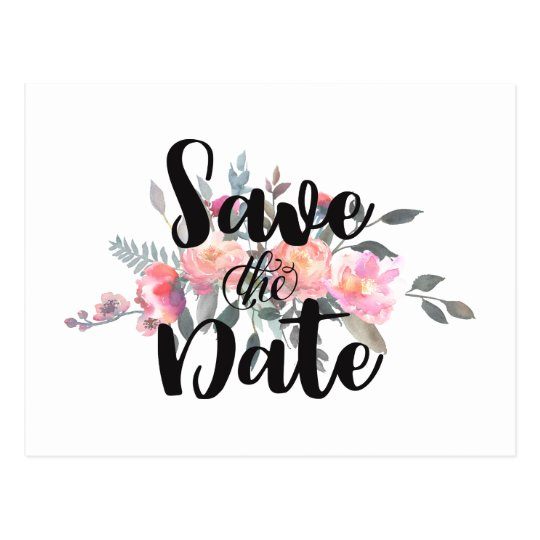 Chic Watercolor Peony Floral Wedding Save the Date