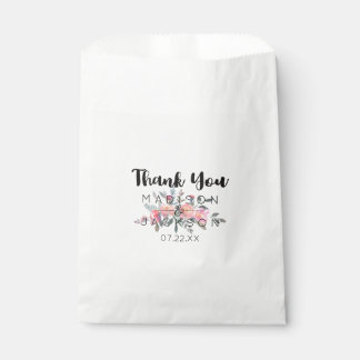 Chic Watercolor Peony Floral Wedding Thank You Favour Bags
