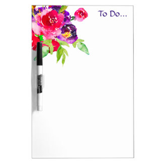 """Chic Watercolor Pink Flowers """"To Do"""" Dry Erase Whiteboard"""