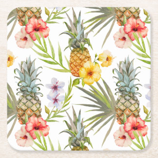 Chic Watercolor Tropical Flowers Leaves Pineapple Square Paper Coaster
