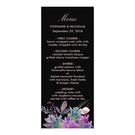 Chic watercolour meadow floral black wedding card