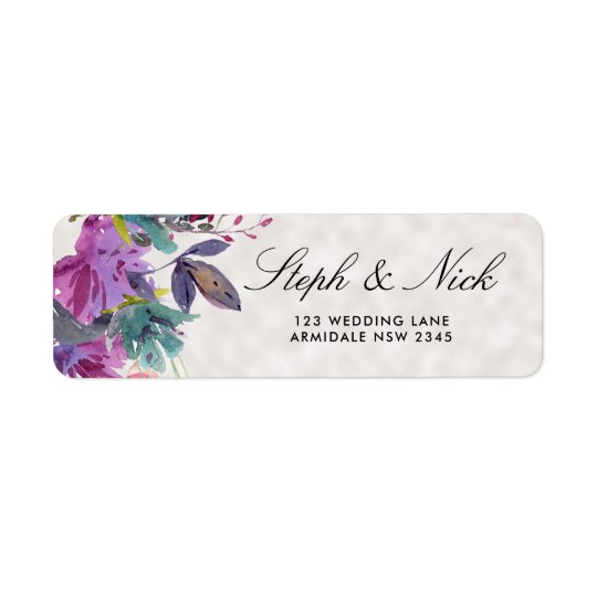 Chic watercolour meadow floral pearl wedding return address label