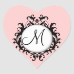Chic Wedding Initial Damask Label Pink Heart Heart Stickers