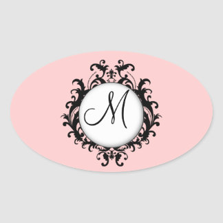 Chic Wedding Initial Damask Label Pink Oval Oval Sticker