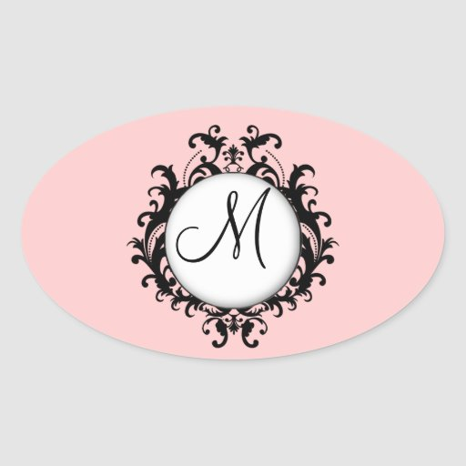 Chic Wedding Initial Damask Label Pink Oval Oval Stickers