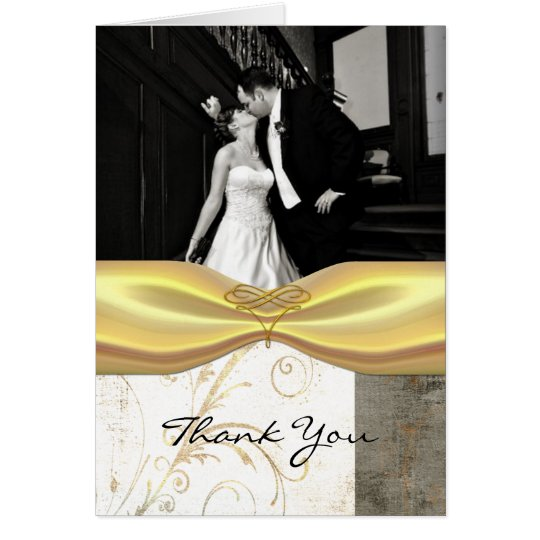 Chic Wedding Photo Thank You Card