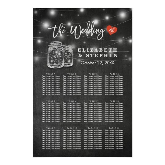 Chic Wedding Seating Chart Mason Jar String Lights