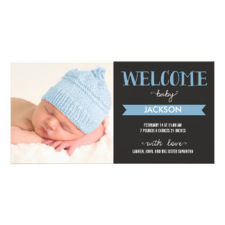 Chic Welcome Baby Boy Birth Announcement Photo Card