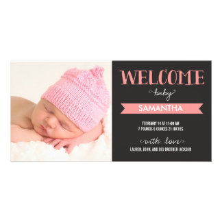 Chic Welcome Baby Girl Birth Announcement Photo Cards