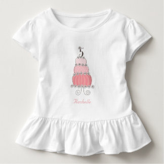 Chic Whimsical Pink Cake Girl's 5th Birthday Party Toddler T-Shirt