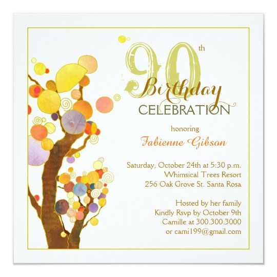 Chic Whimsical Trees 90th Birthday Party Card