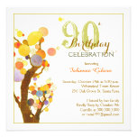 Chic, Whimsical Trees 90th Birthday Party Invites