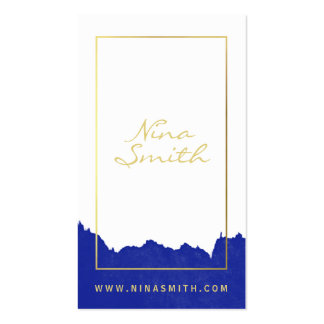 Chic white and gold elegant modern blue watercolor pack of standard business cards