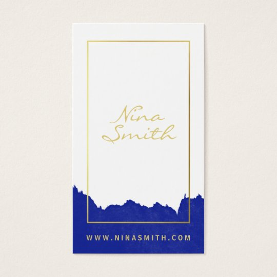 Chic white and gold elegant modern blue watercolor