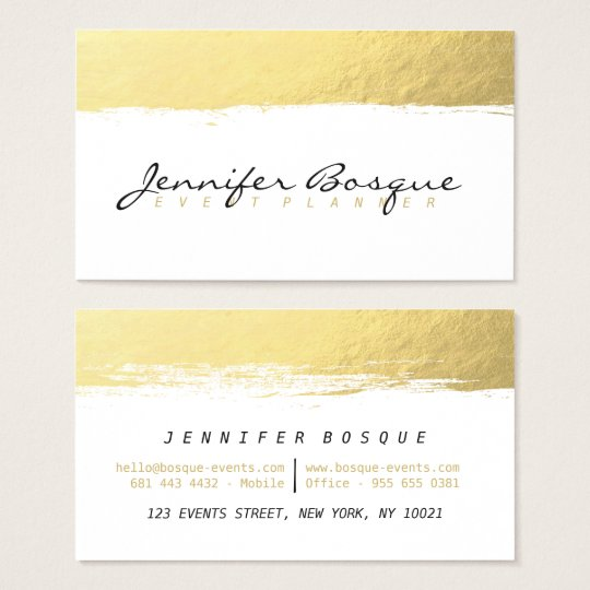 Chic white and gold faux foil modern brush