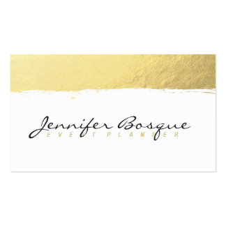 Chic white and gold faux foil modern brush stroke pack of standard business cards