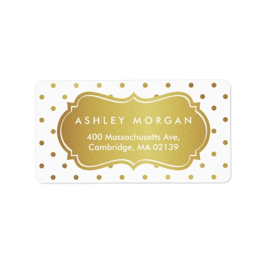 Chic White and Gold Glitter Polka Dots Address Label