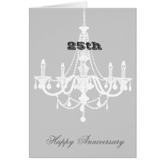 Chic White and Gray Chandelier Card