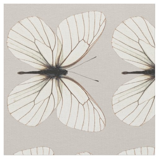 Chic White and Tan Butterfly Pattern Fabric