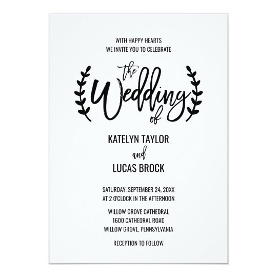 Chic White Black Olive Branches Wedding Card