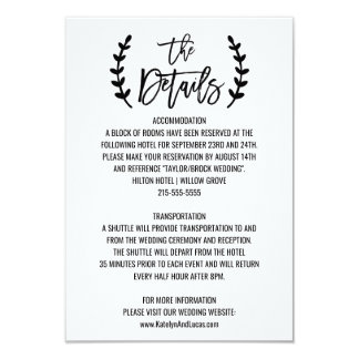 Chic White Black Olive Branches Wedding Details Card