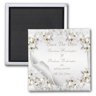 Chic White Dove Paisley Lace Save The Date Refrigerator Magnets