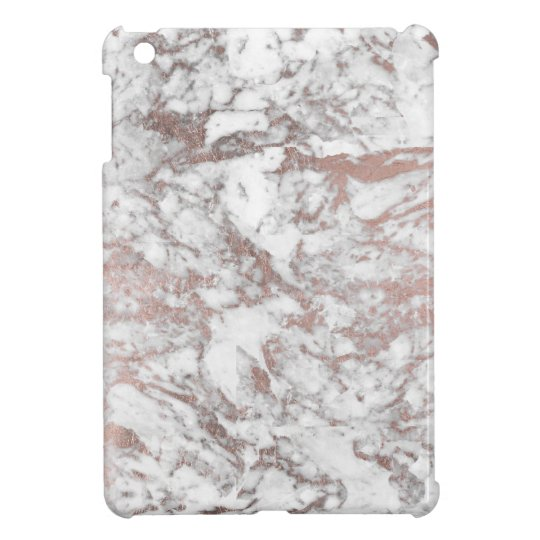 Chic white faux rose gold modern marble iPad