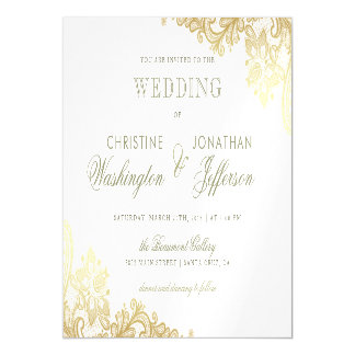Chic White & Gold Foil Floral Lace Wedding Magnetic Card